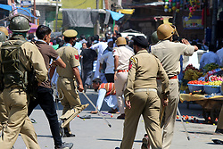 September 8, 2017 - Anantnag, Jammu and Kashmir, India - Youths Chased Security forces during clashes in Anantnag Indian controlled Kashmir, Friday, Sept, 08, 2017. The U.N. refugee agency said some 123,000 Rohingya refugees have fled western Myanmar since the violence erupted on Aug. 25. (Credit Image: © Muneeb Ul Islam/Pacific Press via ZUMA Wire)