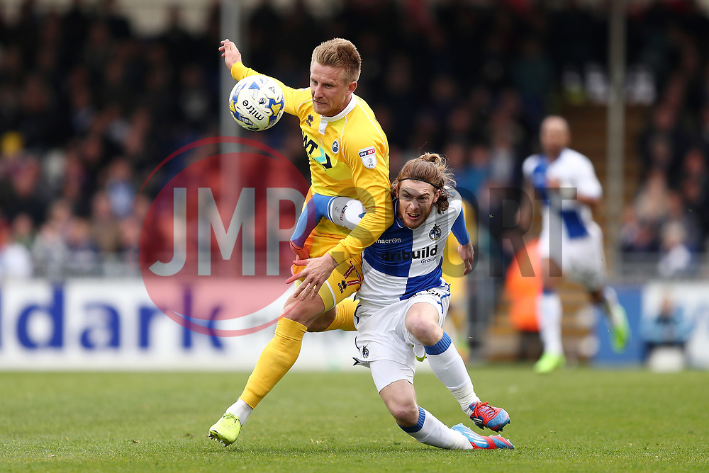 Luke James of Bristol Rovers battles for the ball with Jermaine Easter of Bristol Rovers - Mandatory by-line: Gary Day/JMP - 30/04/2017 - FOOTBALL - Memorial Stadium - Bristol, England - Bristol Rovers v Millwall - Sky Bet League One