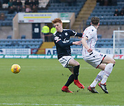 3rd February 2018, Dens Park, Dundee, Scotland; Scottish Premier League football, Dundee versus Ross County; Simon Murray of Dundee and Harry Souttar of Ross County