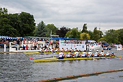 Henley on Thames, England, United Kingdom 6th July 2019, Semi Final, Ladies Challenge Plate, Hollandia Roeiclub NED, setting new Course and stage records in their win over Leander  Club, Henley Royal Regatta  on Henley Reach, [© Peter SPURRIER/Intersport Image]<br />