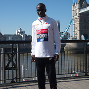Eliud Kipchoge - Elite men photocall - Virgin Money London Marathon at Tower Hill on 19 April 2018, London, UK.