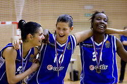 Ivona Matic, Kristina Verbole and Nikya Hughes of Celje celebrate at finals match of Slovenian 1st Women league between KK Hit Kranjska Gora and ZKK Merkur Celje, on May 14, 2009, in Arena Vitranc, Kranjska Gora, Slovenia. Merkur Celje won the third time and became Slovenian National Champion. (Photo by Vid Ponikvar / Sportida)