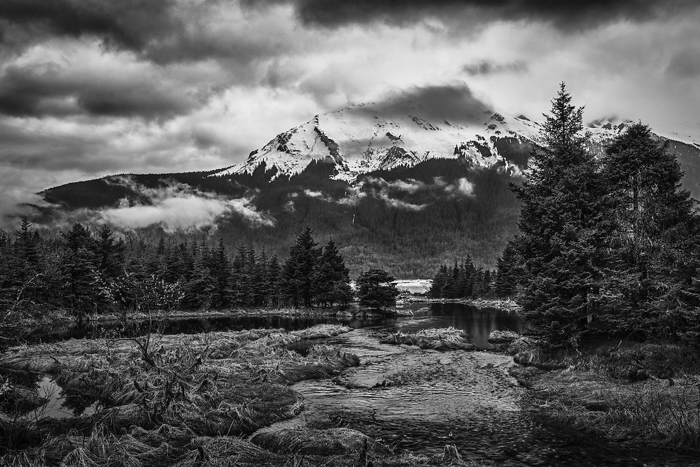 McGinnis Mountain, which sits next to the mighty Mendenhall Glacier, shrouded in clouds