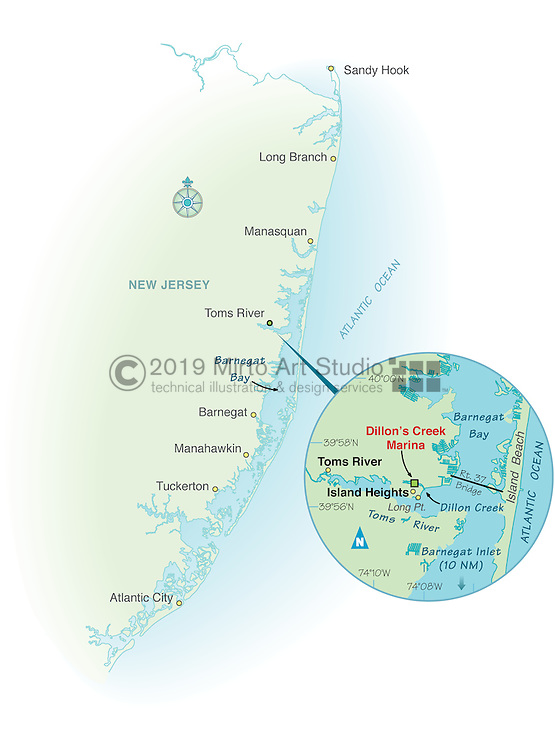 Vector map of Toms River, New Jersey marina