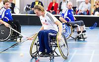 BREDA - Paragames 2011 Breda, Tom Roerink zaterdag tijdens  de interland Nederland-Duitsland  bij het 4-landentoernooi Wheelchair Floorball Hockey, het  Nederlands handvoortbewogen rolstoelhockeyteam.  ANP COPYRIGHT KOEN SUYK