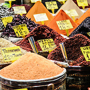 A range of spices for sale in the Spice Bazaar (also known as the Egyption Bazaar) in Istanbul, Turkey.