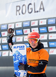 Zan Kosir of Slovenia reacts after placed third during Men's Parallel Giant Slalom at FIS Snowboard World Cup Rogla 2015, on January 31, 2015 in Course Jasa, Rogla, Slovenia. Photo by Vid Ponikvar / Sportida