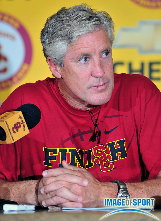 Sep 23, 2008; Los Angeles, CA, USA; Southern California Trojans football coach Pete Carroll speaks at press conference at Heritage Hall.
