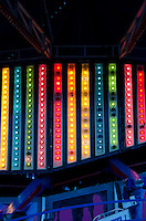 Rainbow-coloured lights on a ride at the Blue Hill Fair, Maine.