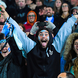 Fans celebrate a try during the Rugby Championship match between the New Zealand All Blacks and Argentina Pumas at Trafalgar Park in Nelson, New Zealand on Saturday, 8 September 2018. Photo: Dave Lintott / lintottphoto.co.nz