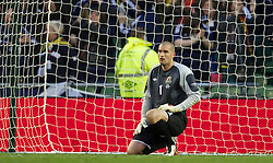 DUBLIN, REPUBLIC OF IRELAND - Wednesday, May 25, 2011: Wales' goalkeeper Boaz Myhill looks dejected after conceding the first goal against Scotland during the Carling Nations Cup match at the Aviva Stadium (Lansdowne Road). (Photo by David Rawcliffe/Propaganda)