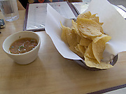 tortilla chips with dip sauce at a Mexican restaurant