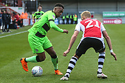 Forest Green Rovers Tahvon Campbell(14) takes on Exeter City defender Dean Moxey (21) during the EFL Sky Bet League 2 match between Exeter City and Forest Green Rovers at St James' Park, Exeter, England on 27 October 2018.