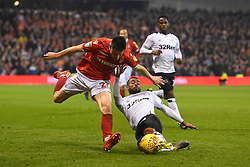 February 25, 2019 - Nottingham, England, United Kingdom - Derby County defender Ashley Cole (26) tackles Joe Lolley (23) of Nottingham Forest  during the Sky Bet Championship match between Nottingham Forest and Derby County at the City Ground, Nottingham on Monday 25th February 2019. (Credit Image: © Mi News/NurPhoto via ZUMA Press)