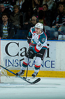 KELOWNA, CANADA - APRIL 7: Kyle Topping #24 of the Kelowna Rockets skates with the puck against the Portland Winterhawks on April 7, 2017 at Prospera Place in Kelowna, British Columbia, Canada.  (Photo by Marissa Baecker/Shoot the Breeze)  *** Local Caption ***
