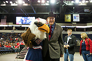 Congressman Sam Johnson poses with the Allen Eagle during Allen High School's football state championship community celebration at the Allen Event Center on Wednesday, January 30, 2013 in Allen, Texas. (Cooper Neill/The Dallas Morning News)