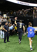Nov 4, 2018; New Orleans, LA, USA: New Orleans Saints quarterback Drew Brees (9) celebrates with the fans as he leaves the field after playing the Los Angeles Rams at the Mercedes-Benz Superdome. The Saints beat the Rams 45-35. (Steve Jacobson/Image of Sport)
