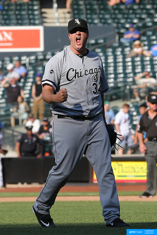 NEW YORK, NEW YORK - June 01:  Pitcher Matt Albers #34 of the Chicago White Sox celebrates the final out for the teams win in the thirteenth inning during the Chicago White Sox  Vs New York Mets regular season MLB game at Citi Field on June 01, 2016 in New York City. (Photo by Tim Clayton/Corbis via Getty Images)