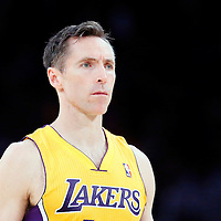 04 April 2014: Los Angeles Lakers guard Steve Nash (10) rests during the Dallas Mavericks 107-95 victory over the Los Angeles Lakers at the Staples Center, Los Angeles, California, USA.