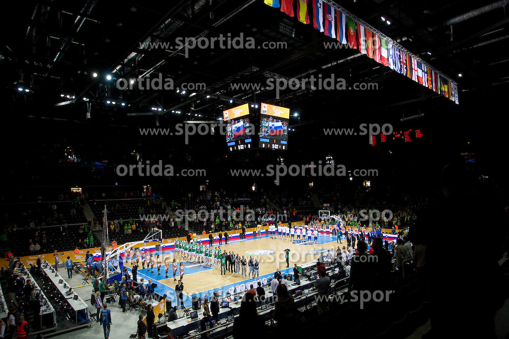 Arena during basketball game between National basketball teams of Slovenia and Serbia in 7th place game of FIBA Europe Eurobasket Lithuania 2011, on September 17, 2011, in Arena Zalgirio, Kaunas, Lithuania. Slovenia defeated Serbia 72 - 68 and placed 7th. (Photo by Vid Ponikvar / Sportida)