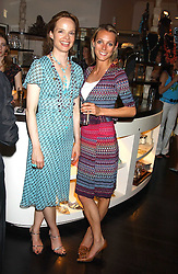 Left to right, CLARISSA BENECKE and SOPHIE DENNIS at a party to launch the Acqualuna jewellery exhibition at Allegra Hicks, 28 Cadogan Place, London on 22nd June 2005.<br />