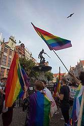 """© Licensed to London News Pictures 20/08/2020 Gdańsk,Poland. I am LGBT - is a motto for the rally in Gdańsk, northen Poland 'in the name of solidarity with people who are humiliated, insulted and deprived dignity' inspired by a member of the European Parliament Magdalena Adamowicz's post on Twitter. <br /> Gay rights are increasingly under threat in Poland endorsed by the government. <br /> Polish President Andrzej Duda has said the LGBT movement is """"more destructive"""" than communism. The Polish government has frequently used inflammatory language against the LGBT community.<br /> Poland does not currently recognise same-sex unions - whether those are marriages or civil unions. Same-sex couples are also legally banned from adopting children. Photo credit: Marcin Nowak/LNP"""