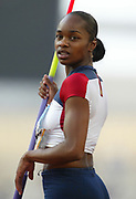 Michelle Perry of the United States competes in the heptathlon javelin in the 2004 Olympics in Athens, Greece on Saturday, August 21, 2004. Burrell finished 14th overall with 6,124 points.