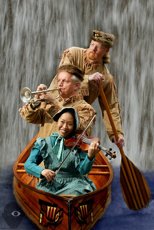 Violinist Keiko Araki, principal trumpeter Fred Sauter and composer Kevin Walczyk make music while braving rough waters. They are members of the upcoming Oregon Symphony event which includes the world premiere of a work honoring the courageous voyage of Lewis and Clark's Corps of Discovery..