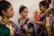 Members of Nupoor Dances directed by Sonal Sanghvi wait backstage before performing at the ICC Youthsava 2016 Dance Competition at the India Community Center in Milpitas, California, on April 9, 2016. (Stan Olszewski/SOSKIphoto)