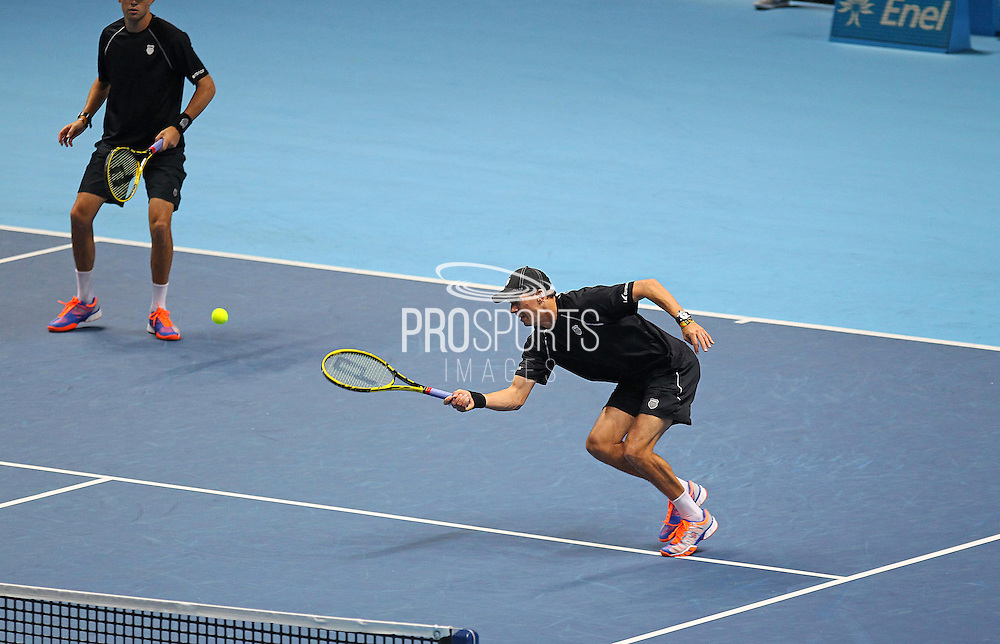 Bob Bryan and Mike Bryan of the United States during the Mens Doubles Final of the Barclays ATP World Tour Finals, O2 Arena, London, United Kingdom on 16 November 2014 © Pro Sports Images
