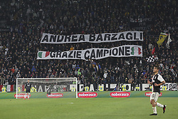 May 19, 2019 - Turin, Piedmont, Italy - Juventus fans display a banner in honor of Andrea Barzagli during his last game before retiring from competitive activity during the Serie A football match between Juventus FC and Atalanta BC at Allianz Stadium on May 19, 2019 in Turin, Italy. (Credit Image: © Massimiliano Ferraro/NurPhoto via ZUMA Press)