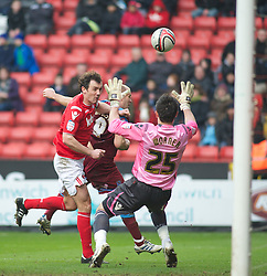 LONDON, ENGLAND - Saturday, March 5, 2011: Tranmere Rovers' Andy Robinson goes close with a header but is denied by a save from Charlton Athletic's Ross Worner during the Football League One match at The Valley. (Photo by Gareth Davies/Propaganda)