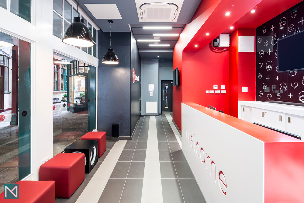 Lobby and reception area at Tune Hotel Liverpool, for Tune Hotels