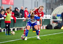 Flo Allen of Bristol City Women battles with Remi Allen of Reading Women - Mandatory by-line: Paul Knight/JMP - 28/10/2017 - FOOTBALL - Stoke Gifford Stadium - Bristol, England - Bristol City Women v Reading Women - FA Women's Super League