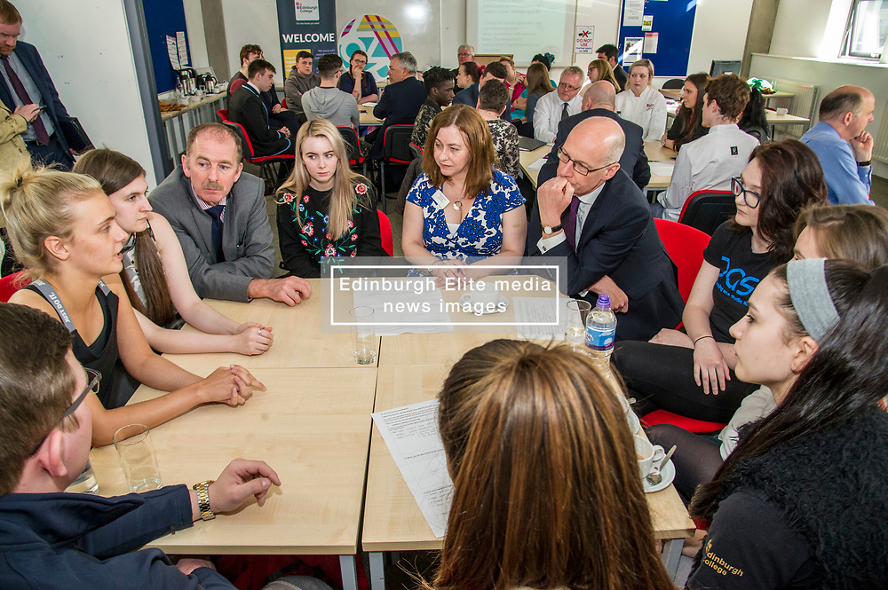 Pictured: John Swinney<br /> Deputy First Minister and Education Secretary John Swinney visited Edinburgh College today and was joned by Employability Minister Jamie Hepburn and Shirley-Anne Somerville, Minister for Further and Higher Education, to launch the Scottish Government's 15-24 Learner Journey Report.<br /> Ministers met with young people and key stakeholders and heard their views and experiences of the learner journey.<br /> <br /> Ger Harley | Edinburgh Elite Media