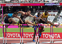 Athletics - 2017 IAAF London World Athletics Championships - Day Three, Morning Session<br /> <br /> 110m Hurdles Men - Heats<br /> <br /> Sergey Shubenkov (Authorised Neutral Athlete) -left-  clears the high hurdles at the London Stadium<br /> <br /> COLORSPORT/DANIEL BEARHAM