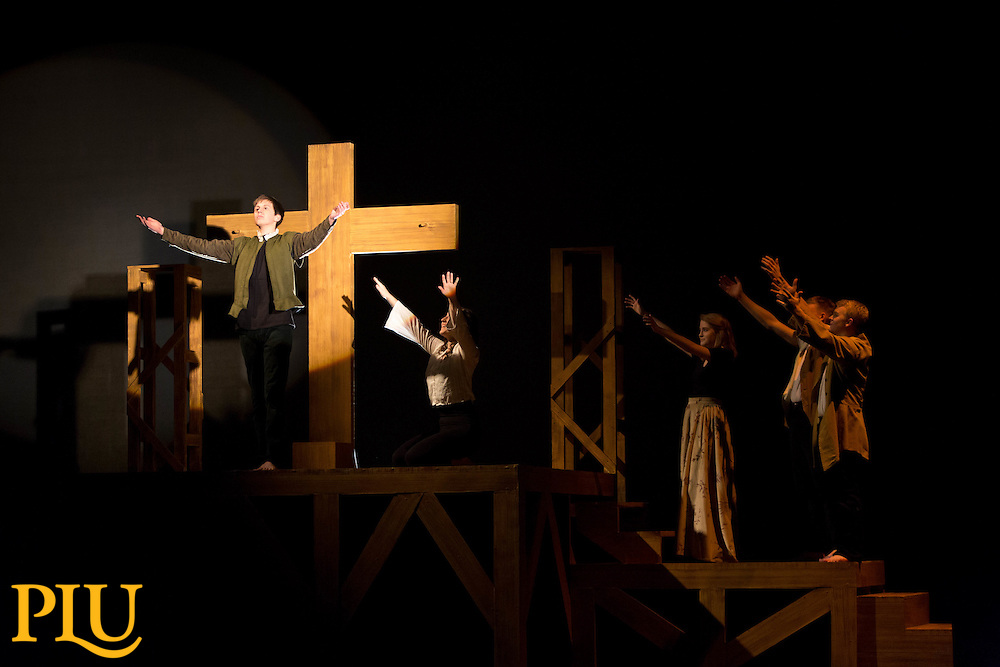 """Rehearsal of the production of """"Passion Play"""" by Sarah Ruhl in the Eastvold Auditorium of the Phillips Center at PLU on Monday, Dec. 8, 2014. (Photo/John Froschauer)"""