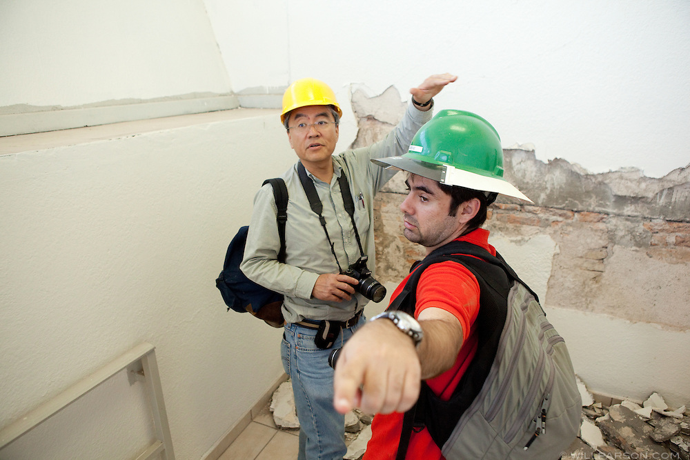 Dr. Benson Shing and his research assistant Andreas Stavridis discuss the earthquake damage inside the Mexicali federal building. Researchers led by Dr. Benson Shing, Vice Chair of the Department of Structural Engineering at the University of California, San Diego, inspected the earthquake damage in Mexicali, Mexico, April 7, 2010. A 7.2 magnitude earthquake in Baja California on Easter Sunday was felt as far away as Los Angeles.