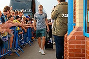 Leeds United forward Patrick Bamford (9) arriving during the EFL Cup match between Leeds United and Stoke City at Elland Road, Leeds, England on 27 August 2019.