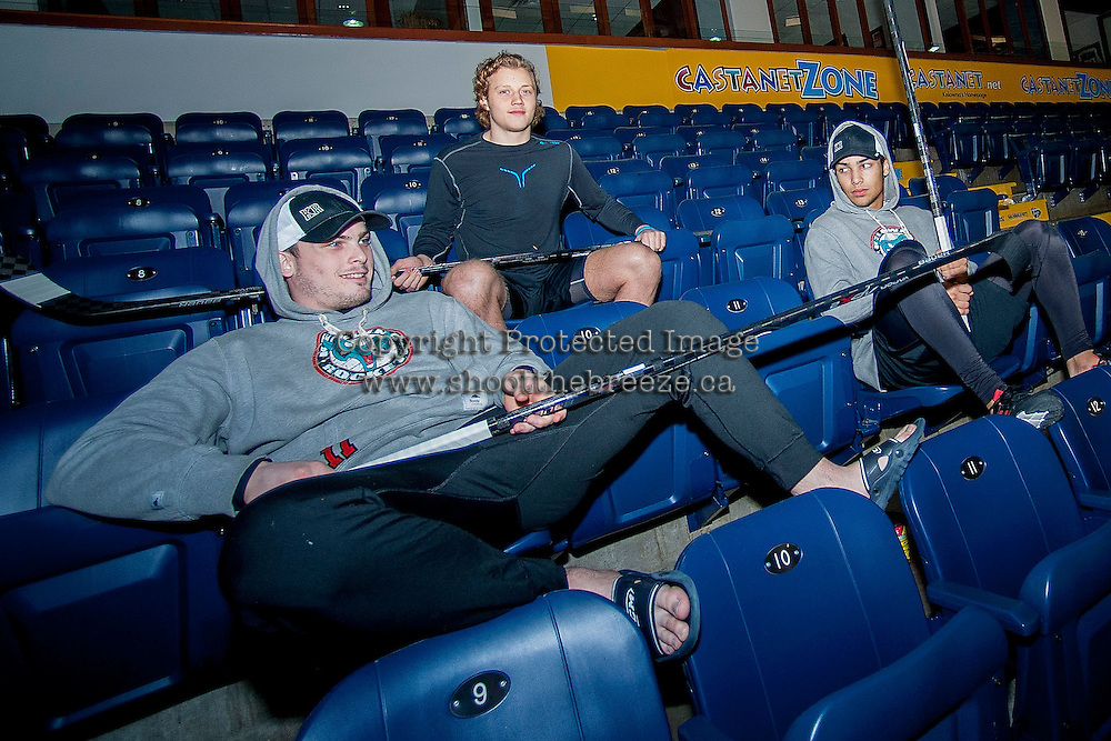 KELOWNA, CANADA -FEBRUARY 25: Ryan Olsen #27, Carter Rigby #11 and Tyrell Goulbourne #12 of the Kelowna Rockets sit in the stands as part of their pre-game ritual against the Prince George Cougars on February 25, 2014 at Prospera Place in Kelowna, British Columbia, Canada.   (Photo by Marissa Baecker/Getty Images)  *** Local Caption *** Ryan Olson; Carter Rigby; Tyrell Goulbourne;
