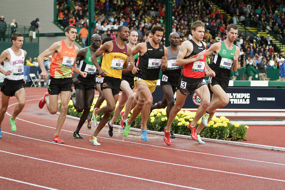 men's 5000 meter prelim, Furst, Mead, Bethke, True, Dobson