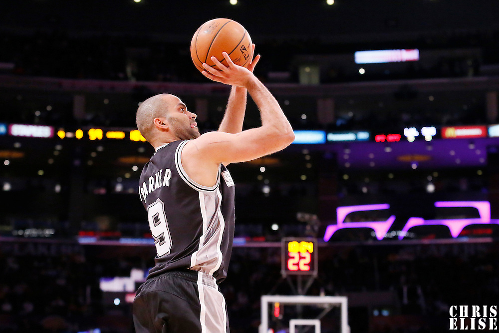 19 March 2014: San Antonio Spurs guard Tony Parker (9) takes a jump shot during the San Antonio Spurs 125-109 victory over the Los Angeles Lakers at the Staples Center, Los Angeles, California, USA.
