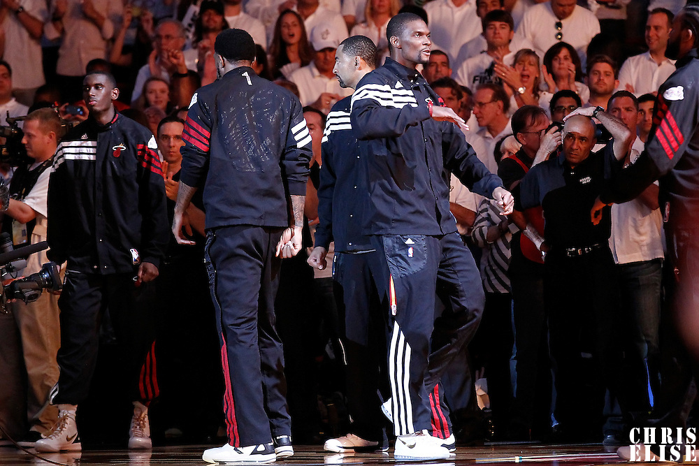 19 June 2012:  Miami Heat power forward Chris Bosh (1) is seen during the players introduction prior to the Miami Heat 104-98 victory over the Oklahoma City Thunder, in Game 4 of the 2012 NBA Finals, at the AmericanAirlinesArena, Miami, Florida, USA.