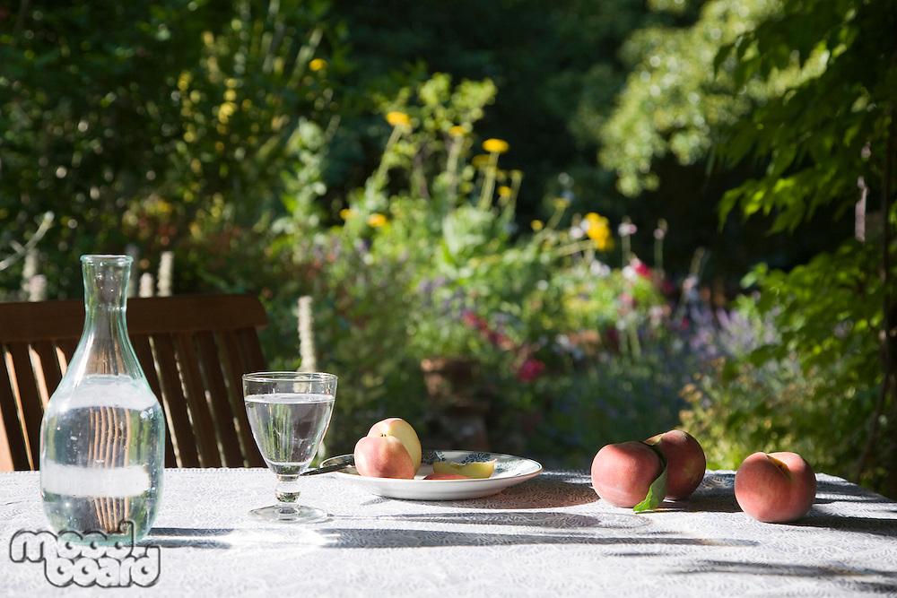 Peaches on table in garden