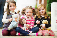 """21/01/2016  Ali Evans with """"Rosie, Abbie Connell, with """"Dr. McStuffin"""" and Niamh Heskin with, """"Ducky"""" from Scoil Bhride, Mionloch Galway at the 11th Annual Teddy Bear Hospital in NUI, Galway where Med students get used to dealing with kids and Kids get used to a hospital setting with their sick teddy bears.Photo:Andrew Downes"""