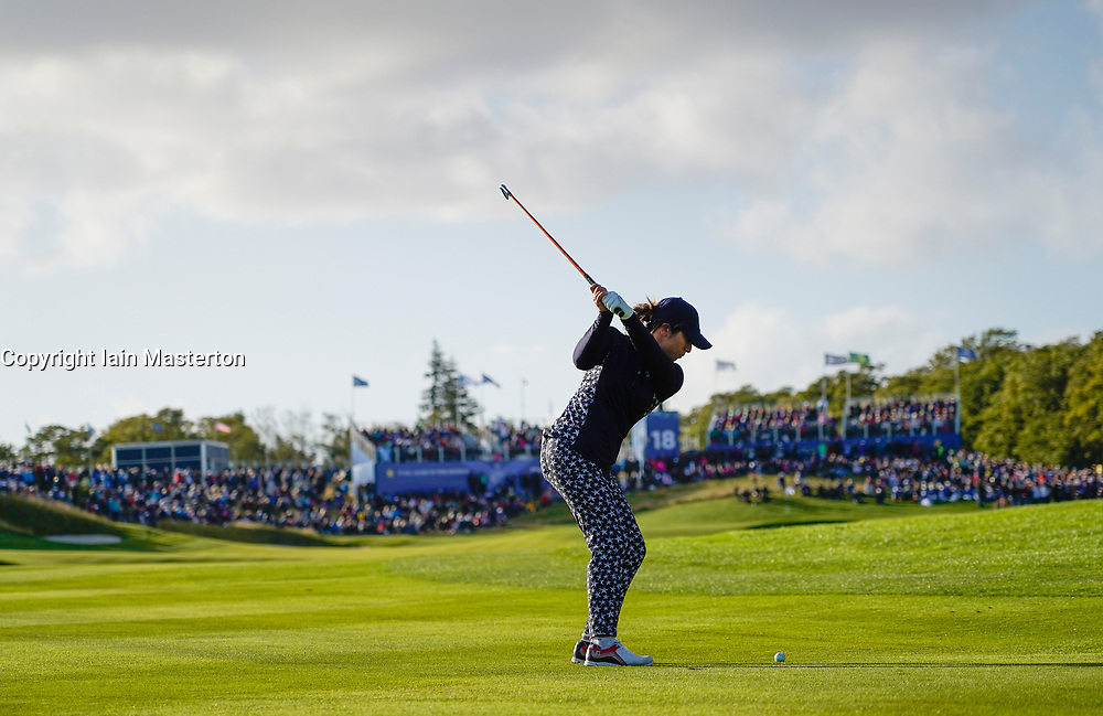 Solheim Cup 2019 at Centenary Course at Gleneagles in Scotland, UK. Pictured Marina Alex of USA plays approach to 18th green on final day