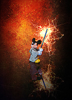 Mickey Mouse Wields A Light Saber, Ready For Battle.<br /> Fun in the studio with figurines and a Light Box. Of coarse some Photoshop Fun as Well.