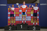 LONDON UK 29TH JULY 2016:  Santiago Cadavid Josh Price Kareem Akininbi Youth A Boys U16. Prudential RideLondon Grand Prix at the London Velo Park. Prudential RideLondon in London 29th July 2016<br /> <br /> Photo: Jed Leicester/Silverhub for Prudential RideLondon<br /> <br /> Prudential RideLondon is the world's greatest festival of cycling, involving 95,000+ cyclists – from Olympic champions to a free family fun ride - riding in events over closed roads in London and Surrey over the weekend of 29th to 31st July 2016. <br /> <br /> See www.PrudentialRideLondon.co.uk for more.<br /> <br /> For further information: media@londonmarathonevents.co.uk