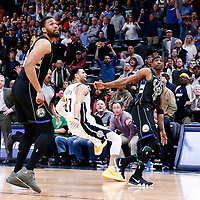 01 April 2018: Denver Nuggets guard Jamal Murray (27) is fouled by Milwaukee Bucks guard Jason Terry (3) during the Denver Nuggets 128-125 victory over the Milwaukee Bucks, at the Pepsi Center, Denver, Colorado, USA.