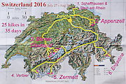 A geographic travel map of Switzerland shows a month itinerary starting from Zurich (doing 25 hikes in 35 days July 27-August 30) in Schaffhausen, Stein am Rhein, Appenzell, Berner Oberland, Valais canton (Fiesch, Verbier, Zermatt) and Engadine Valley, in Europe.